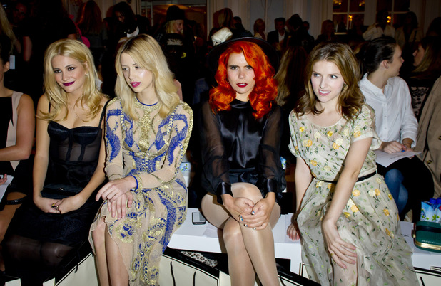 Pixie Lott, Peaches Geldof, Paloma Faith and Anna Kendrick attending the Temperley fashion show, held at the Savoy Hotel as part of London Fashion Week spring/summer 2014.