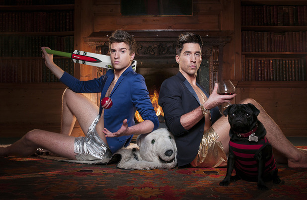 Greg James and Russell Kane in official image for 'Staying in with Greg and Russell'.