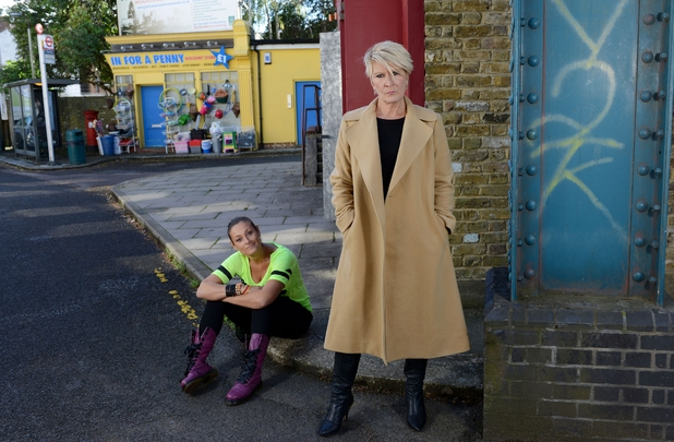 Luisa Bradshaw-White and Linda Henry as Tina and Shirley Carter in EastEnders