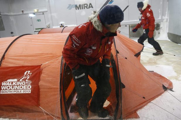 Prince Harry during a cold chamber training exercise with the Walking with the Wounded South Pole Allied Challenge 2013 British team at the MIRA environmental test chamber in Nuneaton