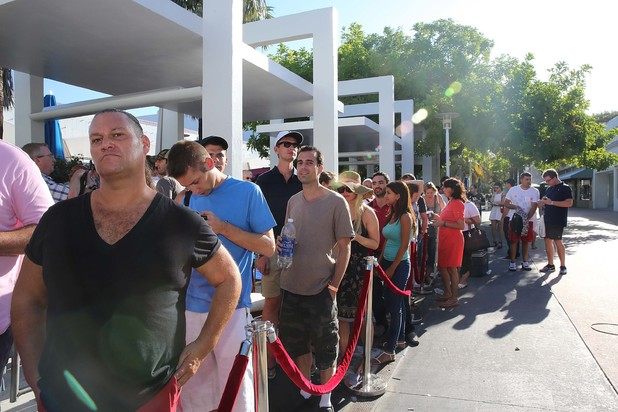 People queue in Miami
