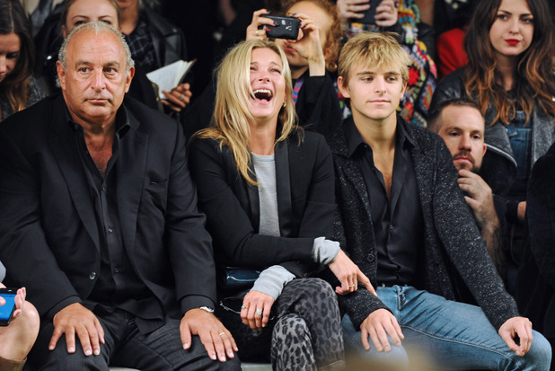 Topshop Unique show, Spring Summer 2014, London Fashion Week, Britain - 15 Sep 2013Sir Philip Green, Kate Moss and Brandon Green15 Sep 2013