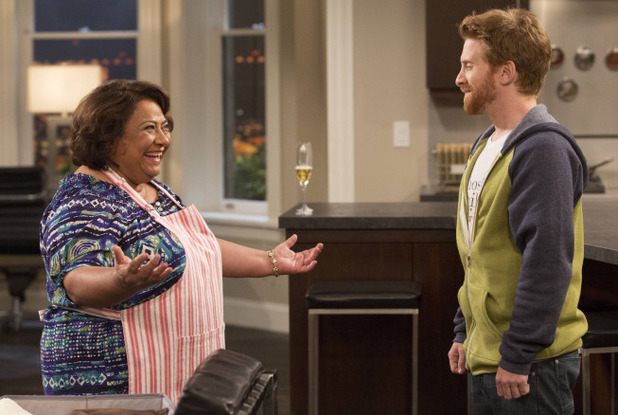 Edna (Tonita Castro) and Eli (Seth Green) make amends in 'Dads'