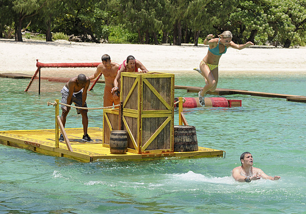 Kat Edorsson leaps into the air during the first Immunity Challenge during the premiere episode of Survivor: Blood vs. Water