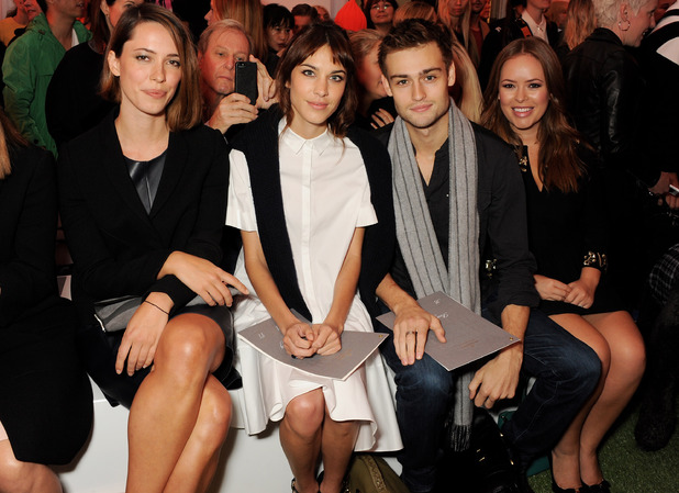 Rebecca Hall, Alexa Chung, Douglas Booth and Tanya Burr attend the Mulberry Spring/Summer 2014 show during London Fashion Week at Claridges Hotel on September 15, 2013 in London, England