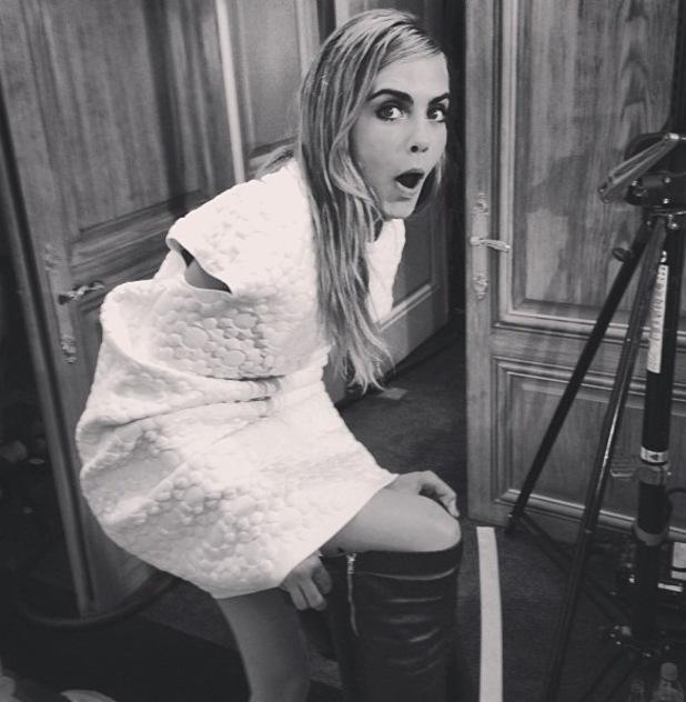 "Cara Delevingne backstage at Mulberry, ""cool pal"" alexa chung"