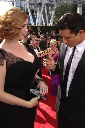 Mario Lopez with Christina Hendricks at the Emmys