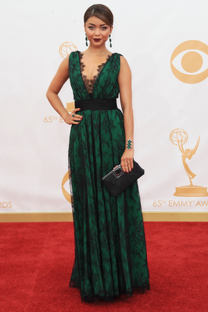 Sarah Hyland wearing Carolina Herrera, arrives at the 65th Primetime Emmy Awards at Nokia Theatre on Sunday, Sept. 22, 2013, in Los Angeles