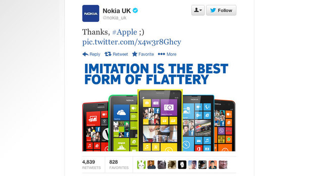 Nokia's tweet poking fun at Apple