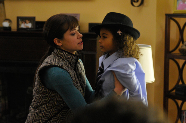 Tatiana Maslany as Alison & Millie Davis as Gemma in 'Orphan Black' episode 3