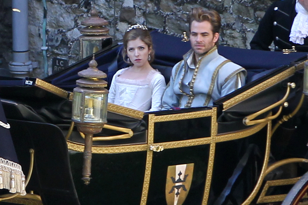 Anna Kendrick and Chris Pine filming 'Into The Woods' at Dover Castle, England