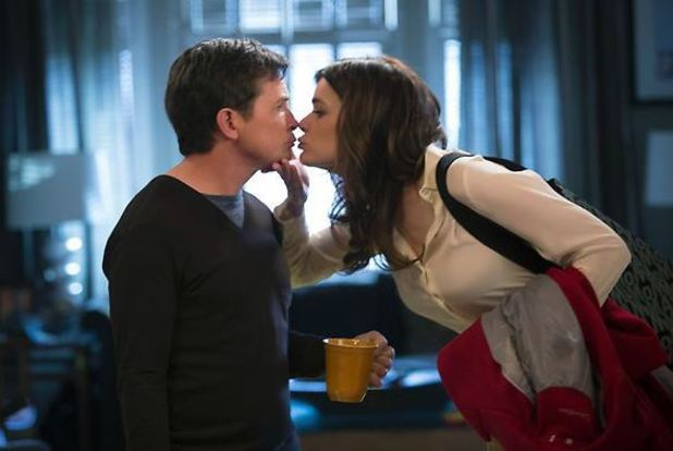 Michael J. Fox as Mike Henry and Betsy Brandt as Annie Henry in 'The Michael J. Fox Show' season premiere