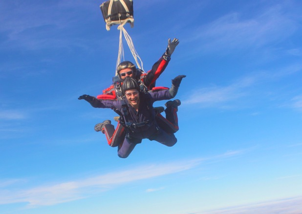 Tom Scurr skydives for charity.