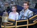 A first on-set look at the Cinderella and Prince Charming actors emerges.