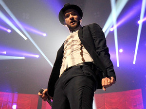 Justin Timberlake performs on stage at iTunes Festival at the Roundhouse, London