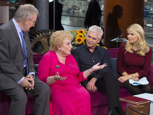 Dr Chris Steele, Denise Robertson, Phillip Schofield and Holly Willoughby during the 25th anniversary show of 'This Morning'