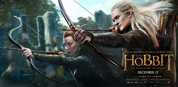 Evangeline Lilly, Orlando Bloom in 'The Hobbit: The Desolation of Smaug'