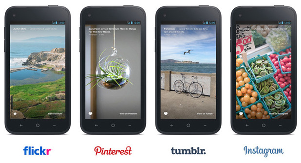 Facebook Home lock screen with Flickr, Pinterest, Tumblr and Instagram
