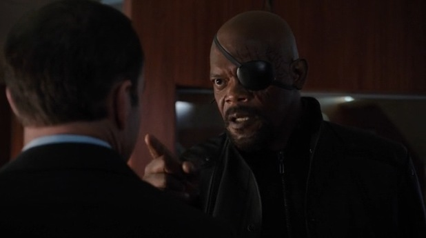 Samuel L Jackson cameos as Nick Fury in Marvel's 'Agents of SHIELD'.