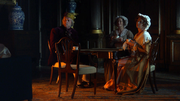 Heston as Mr Woodhouse, Emma as Miss Bates and Karen as Mrs Bennet