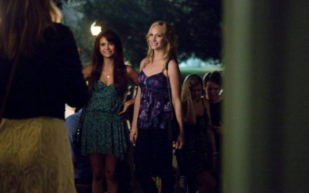 Nina Dobrev as Elena and Candice Accola as Caroline in 'The Vampire Diaries' S05E01: 'I Know What You Did Last Summer'