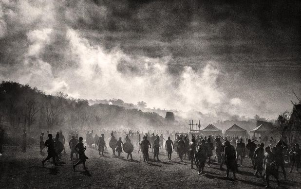 Army gathers on the set of 'Hercules'