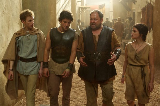 Robert Emms as Pythagoras, Jack Donnelly as Jason, Mark Addy as Hercules and Jemima Rooper as Medusa in 'Atlantis' episode two