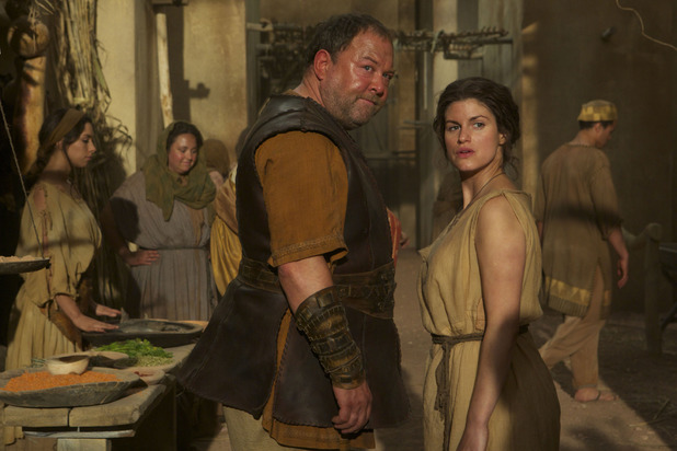Mark Addy as Hercules and Jemima Rooper as Medusa in 'Atlantis' episode two