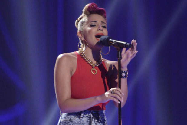Kristine Mirelle performs at the Four Chair Challenge on 'The X Factor USA'