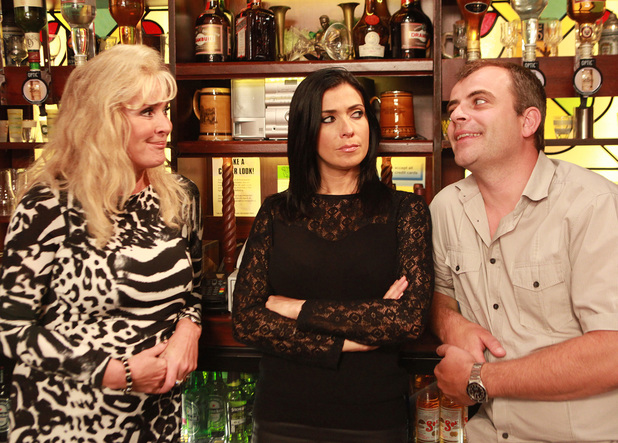 Steve is pleased with himself as Liz and Michelle join him behind the bar.