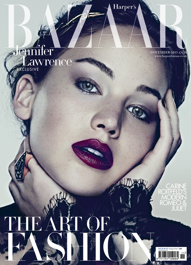 Jennifer Lawrence on the cover of Harper's Bazaar