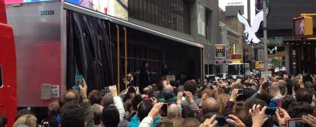Sir Paul McCartney performs surprise pop-up gig in New York's Times Square