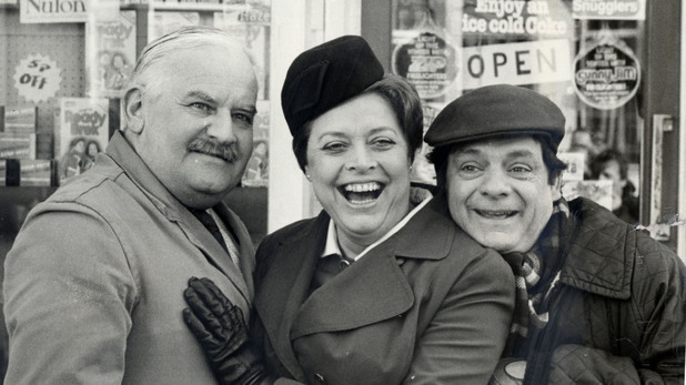 'Open All Hours': Ronnie Barker, Lynda Baron and David Jason on set in 1985
