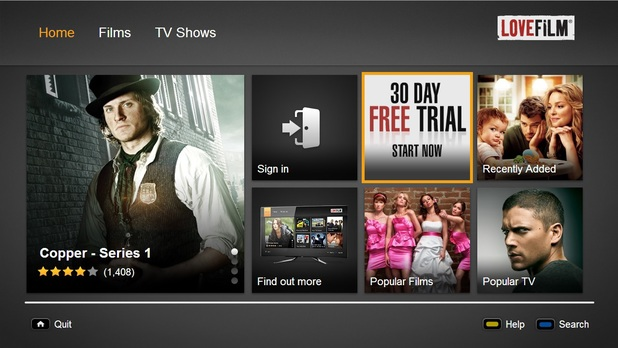 LoveFilm running on LG Smart TV hardware