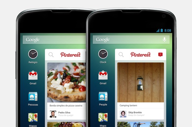 O2 Android pinterest widget