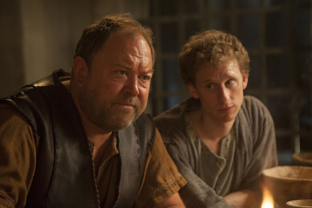 Mark Addy as Hercules and Robert Emms as Pythagoras in 'Atlantis' episode three