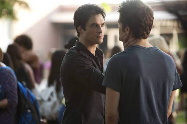 Ian Somerhalder as Damon and Paul Wesley as Stefan in The Vampire Diaries S05E02: 'True Lies'