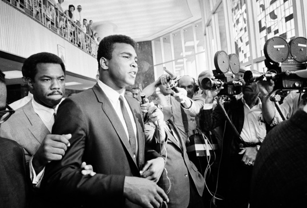 Muhammad Ali during a recess in his trial for refusing induction into the US Army