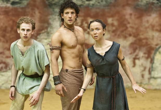 Robert Emms as Pythagoras, Jack Donnelly as Jason and Emily Taaffe as Elpis in 'Atlantis' episode three