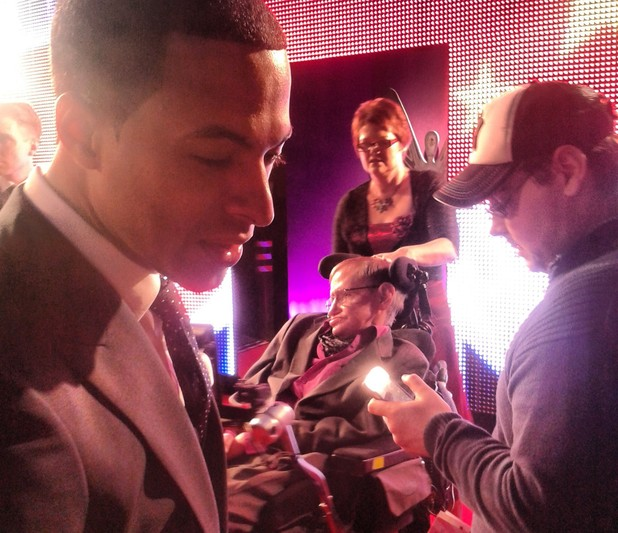JLS star Marvin Humes with Professor Stephen Hawking