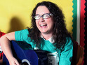 Andrea Begley fronts workshop for group of blind and partially sighted children.