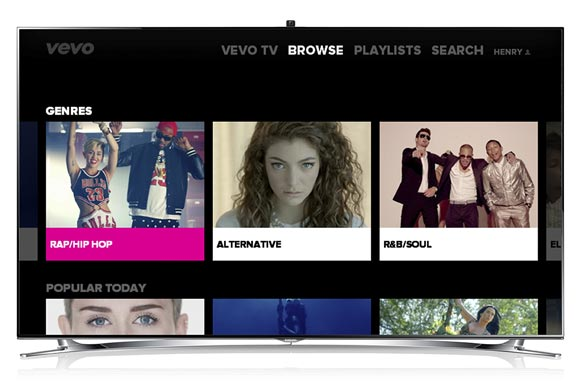 Vevo app on a Samsung Smart TV