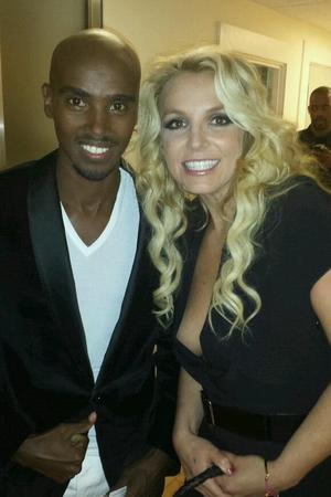 Britney Spears and Mo Farah backstage  'Alan Carr: Chatty Man'