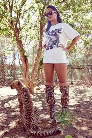 Rihanna hangs out with a cheetah