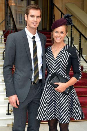Andy Murray with Kim Sears at Buckingham Palace, OBE investiture ceremony - October 17, 2013