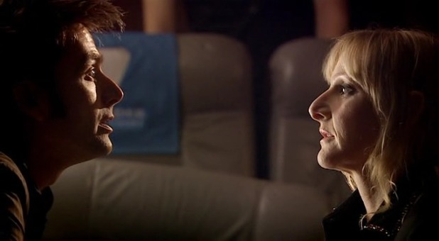 David Tennant as the Doctor and Lesley Sharp as Sky Silvestry in Doctor Who S04xE10 'Midnight'