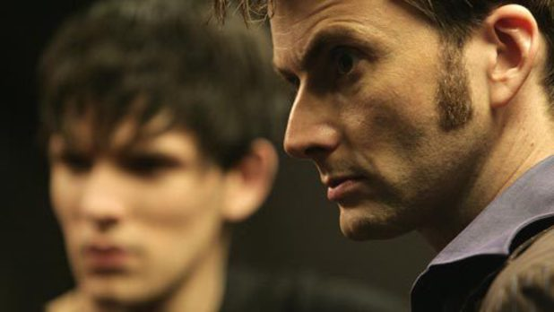 David Tennant as the Doctor and Colin Morgan as Jethro in 'Doctor Who' S04xE10 'Midnight'