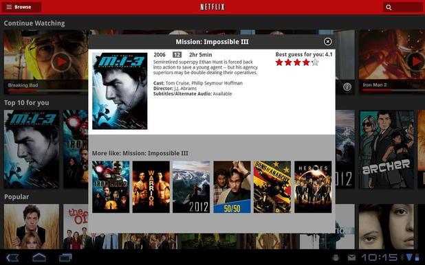 'Netflix' mobile app