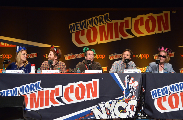 NEW YORK, NY - OCTOBER 11: (L-R) Clare Grant, Seth Green, Matthew Senreich, Breckin Meyer, and Macaulay Culkin speak at the Robot Chicken Panel during New York Comic Con 2013 at the Javits Center on October 11, 2013 in New York City