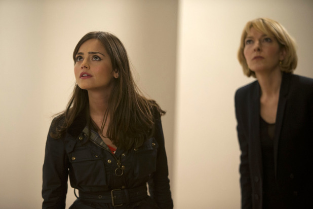 Jenna Coleman as Clara, with Jemma Redgrave as Kate Stewart.
